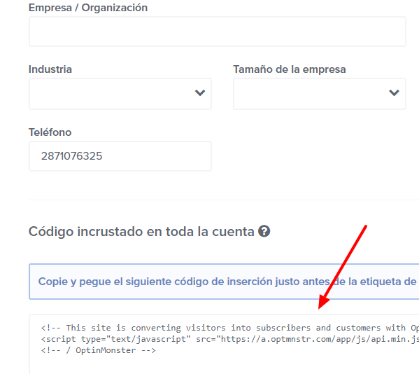 Codigo HTML optinmonster